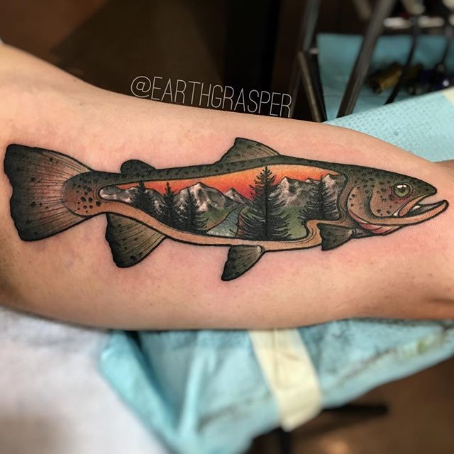 Earthgrasper Tattoo » Trout Tattoo
