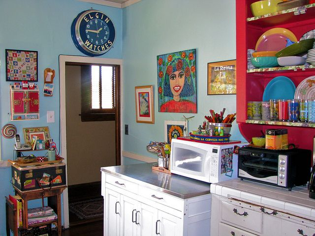 Our colorful, funky kitchen #home #vintage #decor #kitchen #turquoise #
