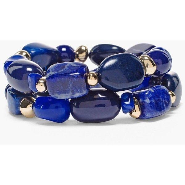Chico's Avery Stretch Bracelets (£31) ❤ liked on Polyvore featuring jewelry, bracelets, navy, navy blue jewelry, navy jewelry, chicos jewelry, beading jewelry and stretch jewelry