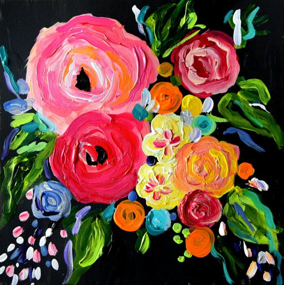 NEW+Small+Abstract+Flower+Painting+Wedding+bouquet+12