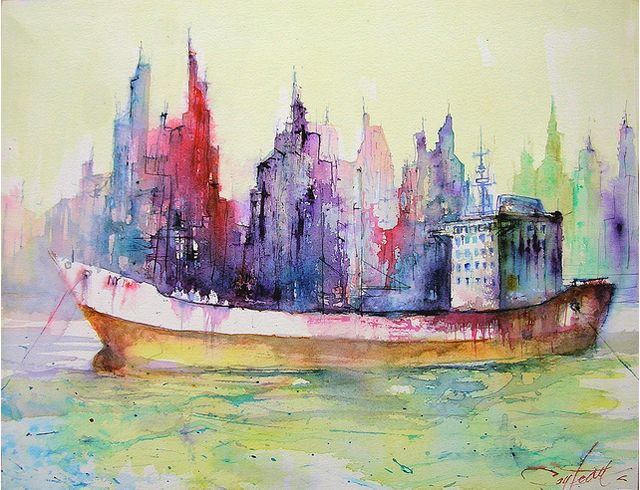 color it: Watercolor Paintings, Inspiration, Watercolors, Christiancouteau, Art, Travel