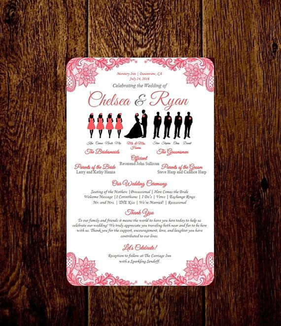 Custom Lace Wedding Silhouette Program Diy Choose Your Party Size Printable