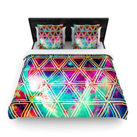 "Caleb Troy ""Neon Triangle Galaxy"" Map Fleece Duvet Cover 