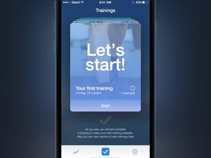 Here is an interaction for the main screen of Fitness app, where you can start a training. List shows exercises, which a user is going to complete.  Full pixels attached.