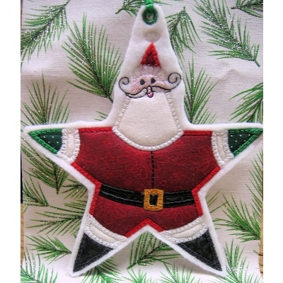 Santa Star Applique - 2 Sizes!