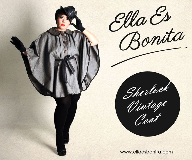 Sherlock Vintage Coat - This vintage coat features high quality suit denim for coat and synthetic leather for the lists which specially designed for sophisticated curvy women originally made by Indonesian Designer & Local Brand: Ella Es Bonita. Available at www.ellaesbonita.com