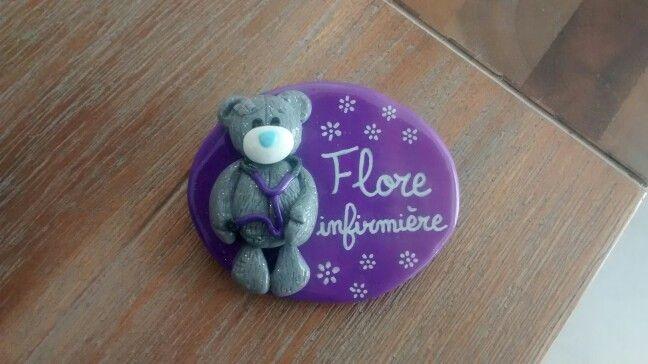 Badge infirmier ourson me to you Estelle badge soignant en fimo