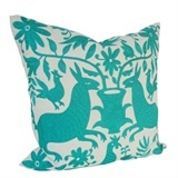 CUSH13168 Cushion Mexican Embroidered Turquoise
