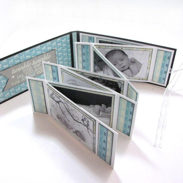 Embrace Serendipity: Baby Boy & Girl Accordion Zig Zag Mini Albums with Tutorial - Mini album made with papers from the 'Cuddle: Boy' collection from Authentique