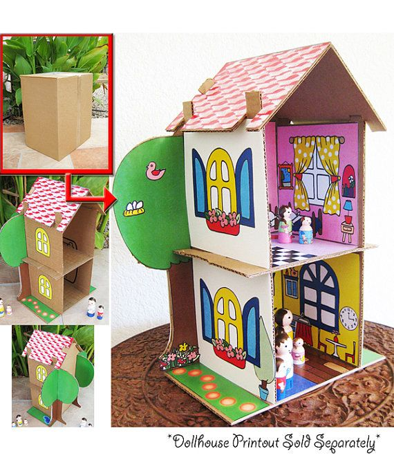 SALE Cardboard Dollhouse PDF Pattern Recycle by DollsAndDaydreams