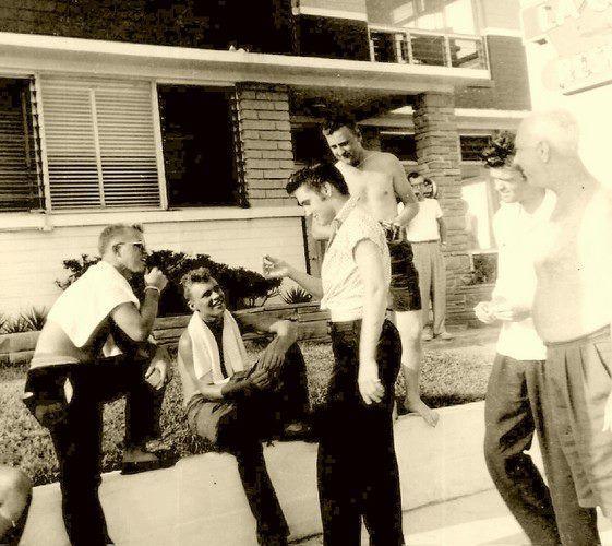 August 1956 ~ Elvis talks to fans at Daytona's Copacabana Motel