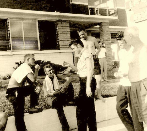 August 1956 ~ Elvis talks to fans at Daytona's Copacabana Motel