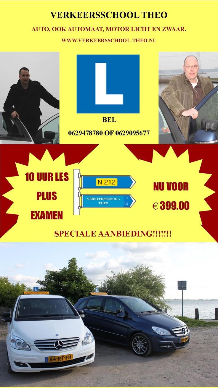 Speciale aanbieding: 10 uur les plus examen, Nu voor €399. 06-29478780, Verkeersschool Theo, #Almere www.verkeersschool-theo.nl
