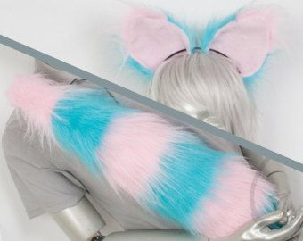 Fluffy Movie Cheshire Cat Ear and Tail Set Cosplay by lemonbrat