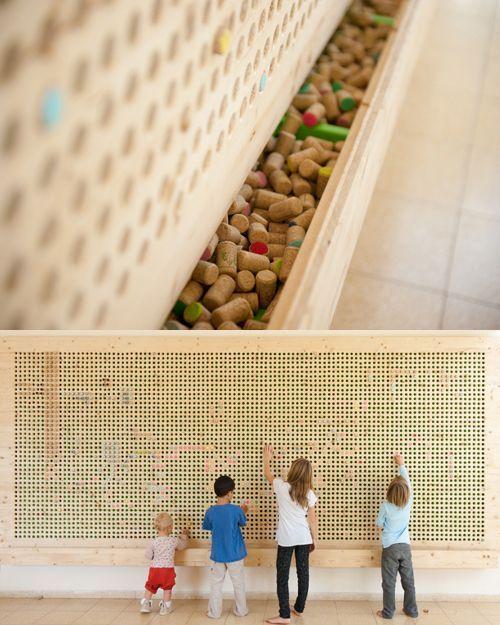 Cork pixel wall by Tali Buchler   http://growingupcreative.typepad.com/tali_buchler/