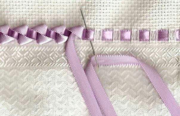 Pretty ribbon embroidery edging stitch