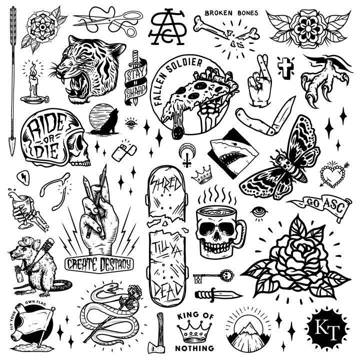 Tattoo Flash Art Black And White Guitar: Tattoo Flash Art, Inspirational Tattoos