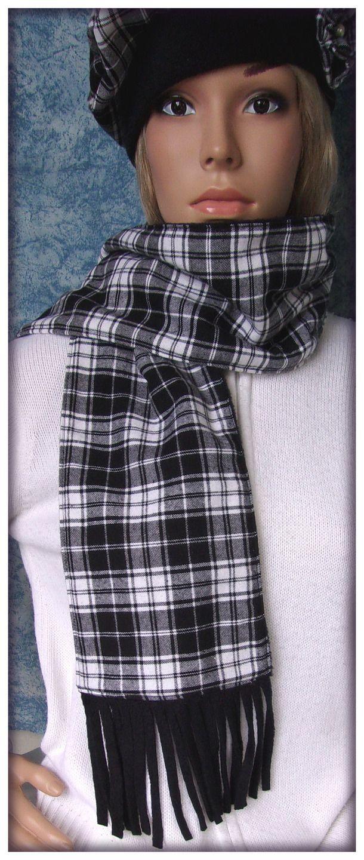 Echarpe en tissu coton flanelle à carreaux blanc noir : Echarpe, foulard, cravate par orkan28