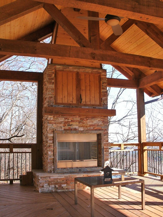 Living Room Inspiration: Outdoor Covered High Deck With Fireplace