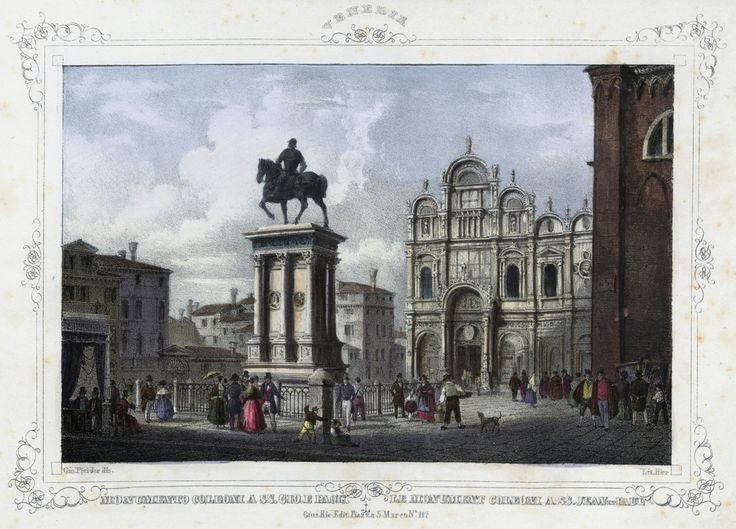 Venezia, monumento Bartolomeo Colleoni a SS. Giovanni e Paolo (National Library of Poland - 1847, lithography)