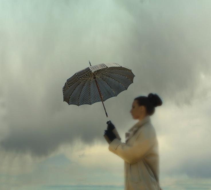 Umbrella Art Storm Art  Girl with Umbrella in storm.