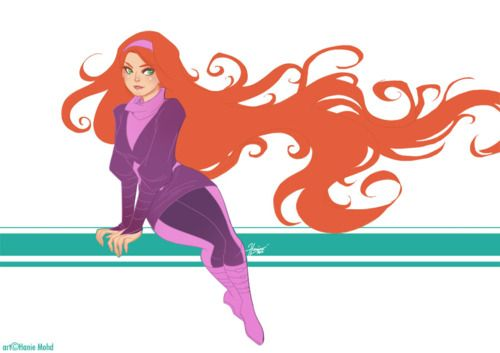 Medusa!  Her sweater is based on the costume depicted by Alex Garner here.  Also, all resemblance to Daphne of Scooby-Doo is totally unintentional. It's the colour scheme of that outfit and the red hair, dang it XD