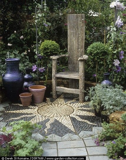 Mosaic pattern - I would love this in a corner of the garden. And I think the tall narrow chair makes a great focal point too