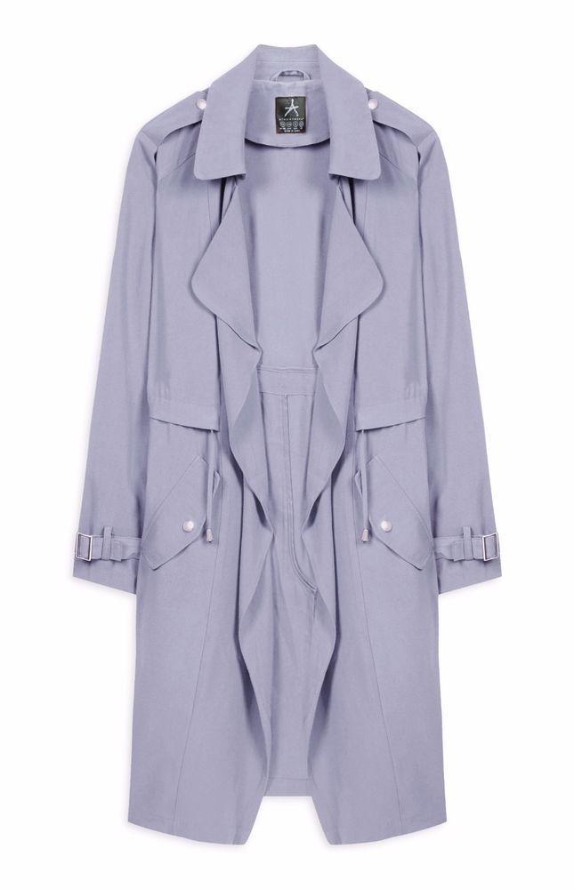 Primark Womens Powder Blue Waterfall Drawstring Waist Jacket UK 12 #Primark #TrenchCoatsMacs #Casual