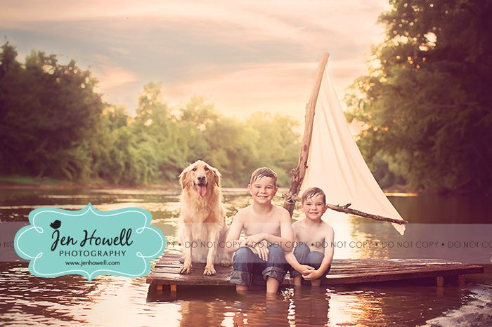 creative kids photography, kids photography with a dog, kids photography with a raft, huck finn raft photography prop, handmade props