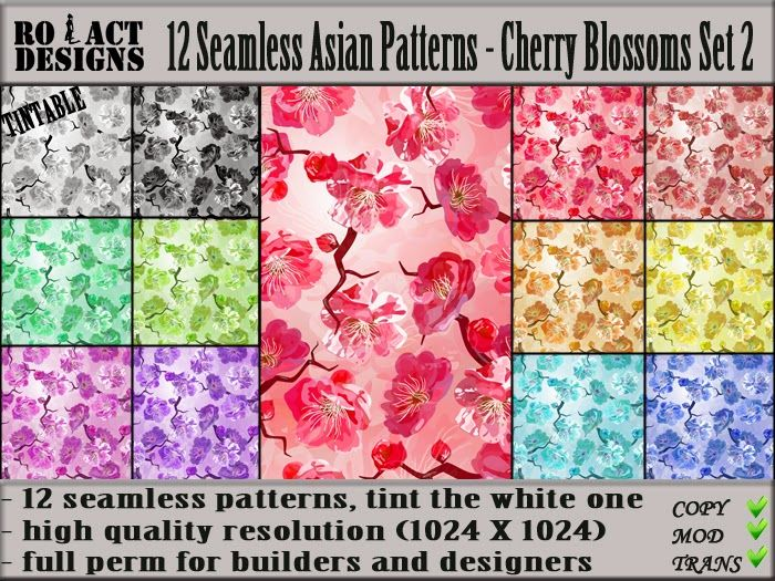 Ro!Act Designs 12 Seamless Asian Patterns - Cherry Blossoms Set 2