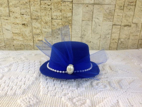 Blue and White Fascinator Tea Party Hat, wedding, derby, Birthday, or bridal shower hat - the handmade fascinator top hat clips to hair