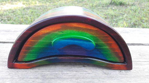 Rainbow wooden box small wood jewelry box boho style rainbow