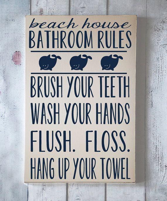 Enfants Wall Art - règles de salle de bain pour le thème Beach - typographie Art - plage maison salle de bain - baignoire - peint à la main en bois signe - votre choix de couleur sur Etsy, 37,47 €