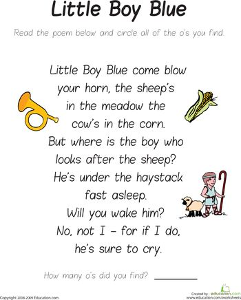 Worksheets: Find the Letter O: Little Boy Blue
