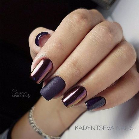 Bronze and matte black nails.