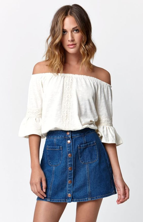 Outfits de verano con faldas de mezclilla  448a5272037b