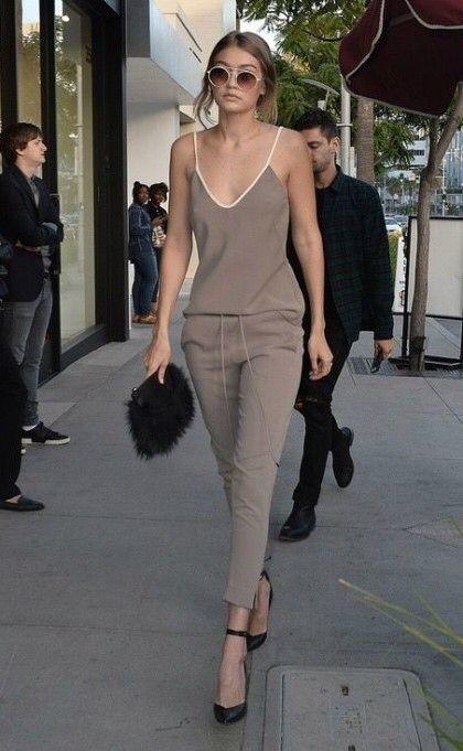 comfy jumpsuit worn by Gigi Hadid