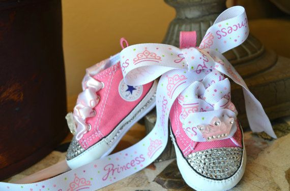 PINK PRINCESS Crown Infant Baby Girl Converse by angelareesestudio on Etsy.  Other colors, ribbons, and crowns available.
