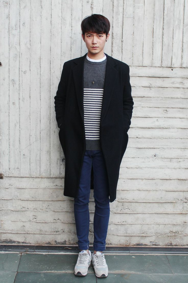 Simple look - oversize coat striped sweater skinny jeans and sneakers (korean street style ...