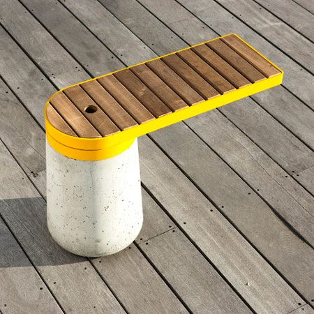 Cantilevered Bench + | The project was commissioned by Norwegian sustainable timber producers Kebony, to explore and demonstrate the potential of using their engineered softwoods in outdoor furniture.