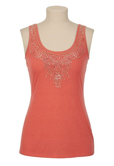 Bead Embellished Neck Tank available at #Maurices