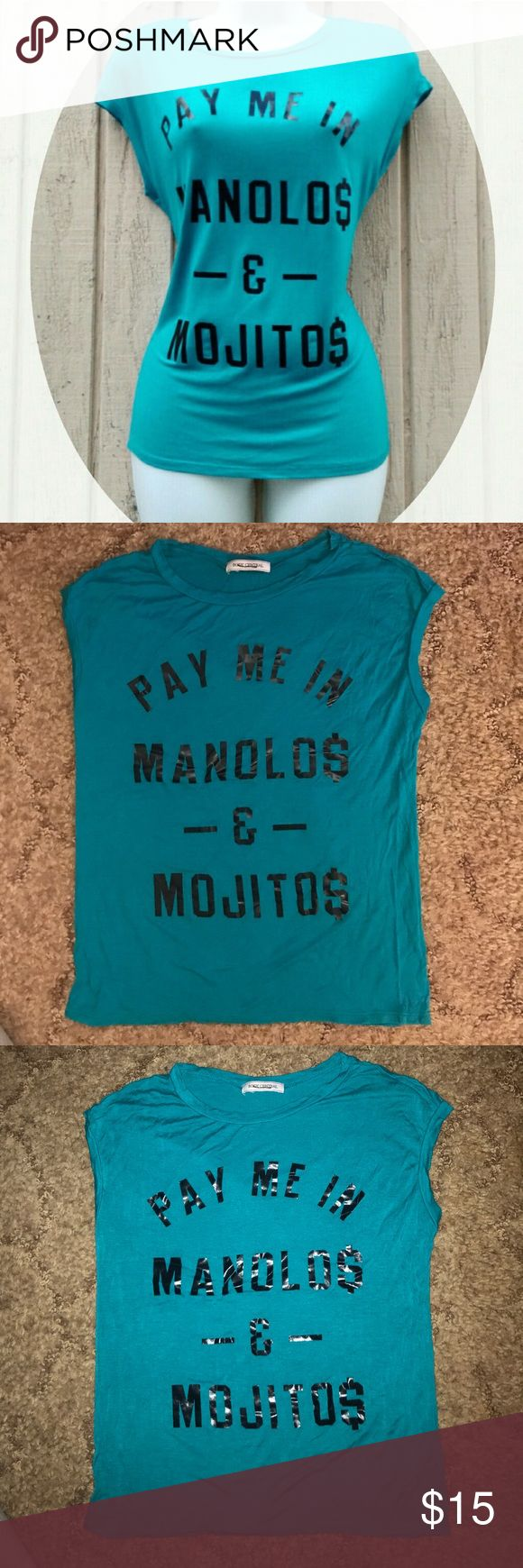 Body central turquoise top Body central top, turquoise color with black faux leath lettering, Gently Worn one time, great condition. ( the inner size tag has been removed but this top is a size Medium) Body Central Tops Tees - Short Sleeve