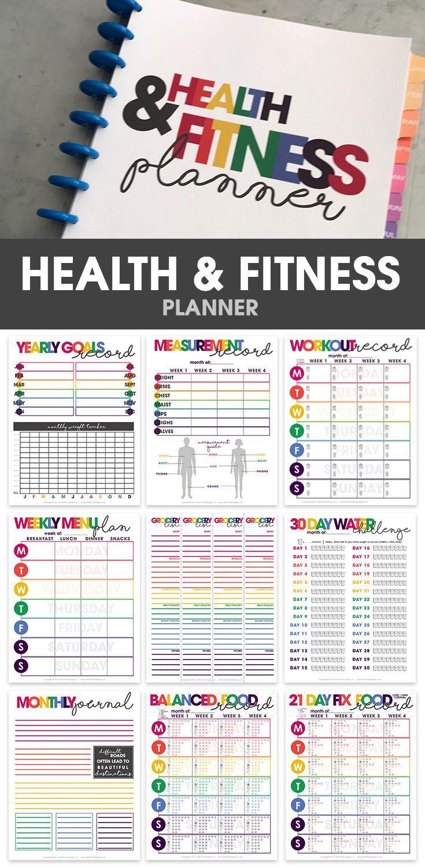 health fitness planner printable organizational printables weight loss tracker via. Black Bedroom Furniture Sets. Home Design Ideas