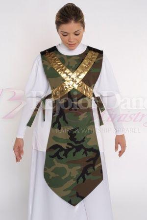 Camouflage Traditional Ephod w/Crossed Shield - Praise & Worship Dance Wear