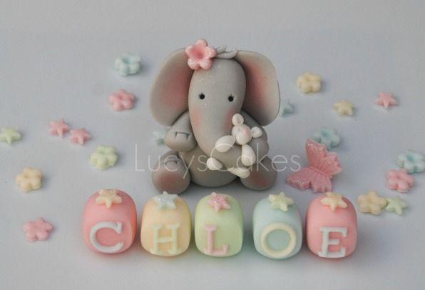 Elephant cake topper set christening or birthday   Flickr - Photo Sharing!