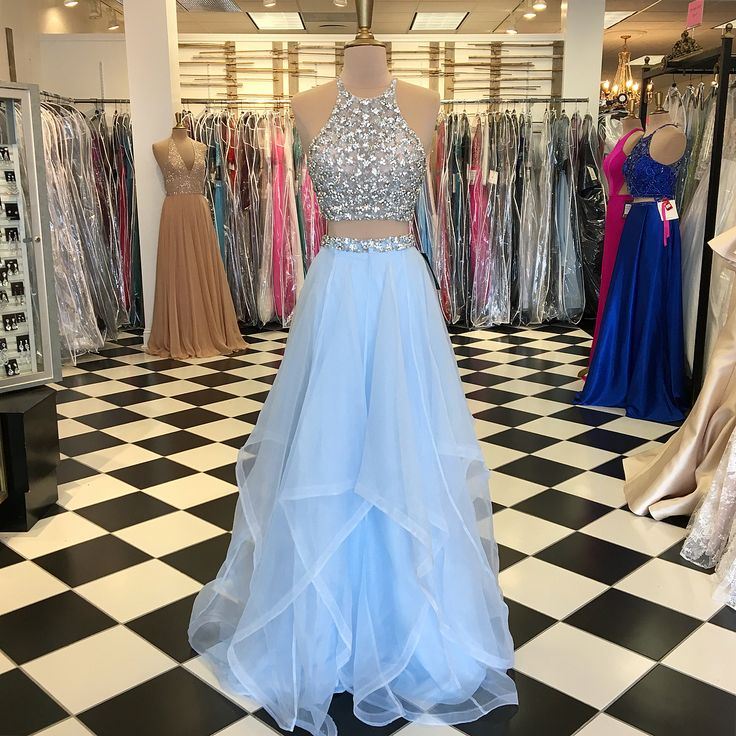 Sparkly Two Piece Sequins Sky Blue Long Prom Dress from dreamdressy