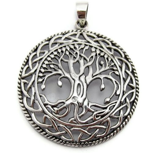 Large Tree of Life Pendant Sterling Silver Irish Celtic Knots Mother Earth Roots