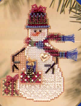 √ -- cross stitch ornament.  Lovely for gift giving or keeping.  Mill Hill's Gift Snow Charmer kit.