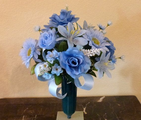 Blue Cemetery Flowers With Roses by SilkFloralsandFrills on Etsy - $33.99
