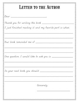 Reading Response Forms - letter to the author- I love the idea of showing students how to write letters by having them write to their favorite authors. I think that this template would be great to introduce letter writing to your students, and then they could write their own letters on their own later on. I think that they would really enjoy this activity.